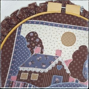 Vintage Accents - Vintage farmhouse patchwork & embroidery hoop